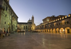 Ascoli Piceno (Marche, Italy) - The main square, Piazza del Popolo, at night