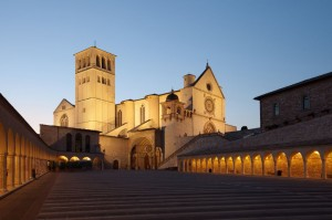 Basilica of Saint Francis of Assisi at sunset, Umbria, Italy