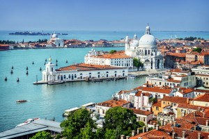 Beautiful view of the Grand Canal and Basilica Santa Maria della Salute, Venice, Italy