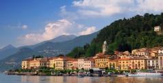 Bellagio peninsula seen from Lake Como, Italy