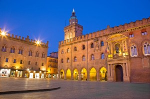 Bologna - Palazzo Comunale and Piazza Maggiore square in morning dusk