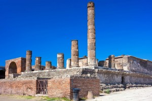 Famous ruins of ancient town of Pompeii in Italy