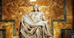 Michelangelo's Pieta in St. Peter's Basilica in Rome, Italy