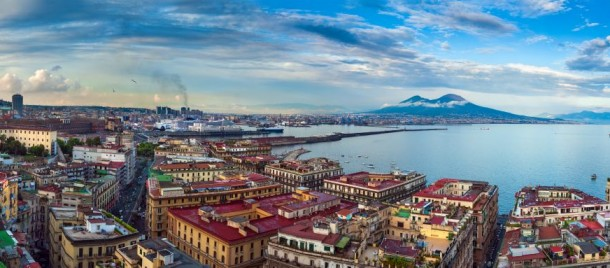 Panorama of the Gulf of Naples and Mount Vesuvius, Italy