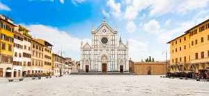 Panoramic view of Piazza Santa Croce with famous Basilica di Santa Croce in Florence, Tuscany, Italy