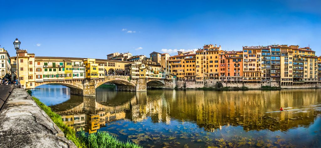 Panoramic view of Ponte Vecchio in Florence, Tuscany, Italy
