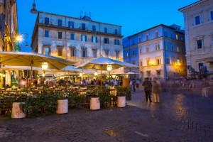Piazza Santa Maria in Trastevere in Rome, Italy