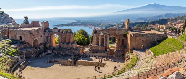 Ruins of the ancient greek theater of Taormina, Sicily