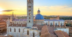 Siena aerial sunset panoramic view, Cathedral Duomo, Tuscany, Italy