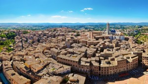 Siena panorama view from Torre Mangia tower, Tuscany, Italy