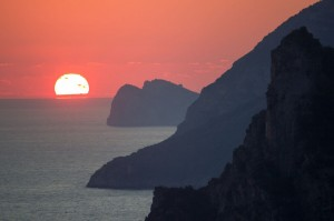 Sunset over Positano, Amalfi Coast, Italy