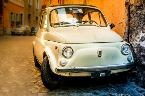Vintage FIAT 500 in a street of Rome, Italy