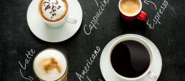 Different kinds of Cappuccino, espresso, americano and latte macchiato in Italy