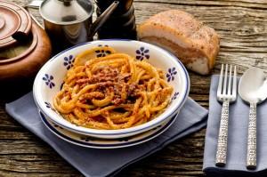 Italian traditional pasta amatriciana, Rome, Italy