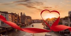 Romantic sunset view of Venice, Italy
