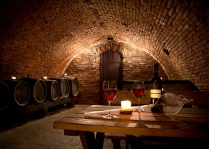 Wine cellar with wine bottle and glasses, Italy